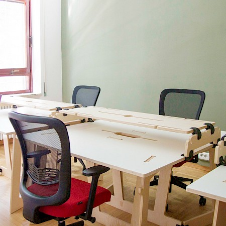 office desk with monitor riser stand